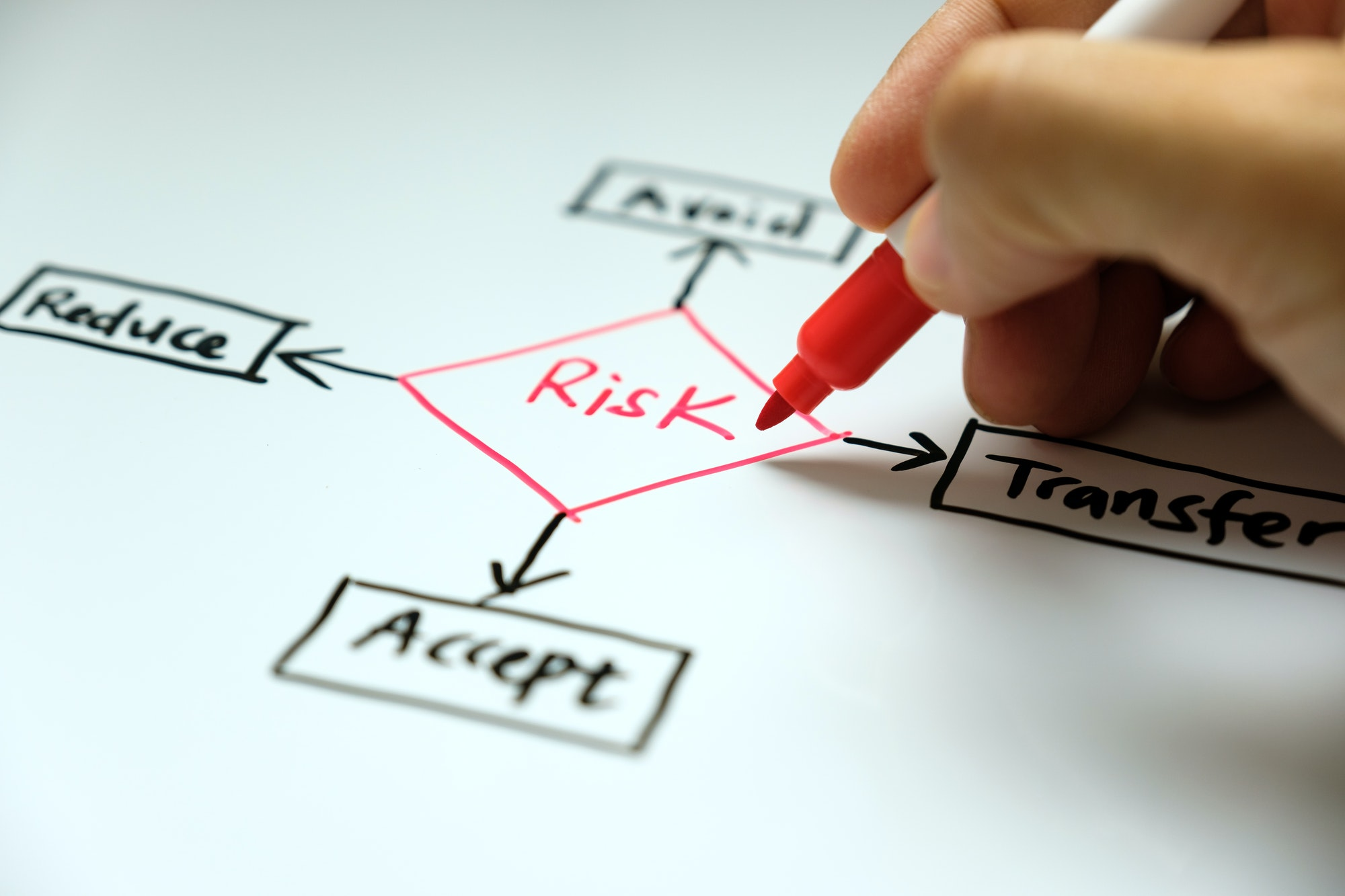 Risk management concept avoid, accept, reduce and transfer